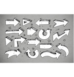doodle sketch arrows on grey background vector image