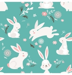Easter seamless pattern design with bunnies vector
