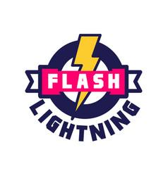 Flash lightning logo badge with lightning symbol vector
