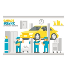 Flat design garage service infographic vector image