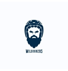 Flat style biker face abstract logo vector