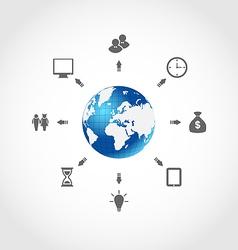 Global internet communication set business vector image vector image
