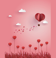 greeting card of hot air balloon fly over flower vector image