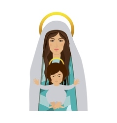 Half body saint virgin mary with baby jesus vector