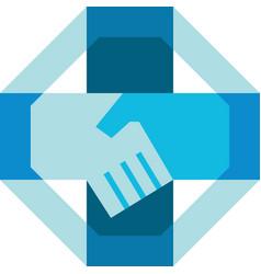 Handshake forming cross octagon retro vector