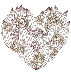 Heart adult coloring page whimsical floral design vector