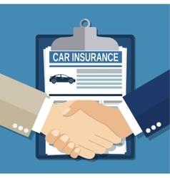 Insurance concept handshake vector image vector image