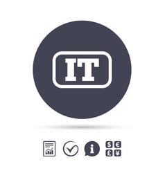 Italian language sign icon it italy translation vector