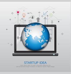 laptop startup idea vector image vector image