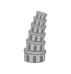 Leaning tower of pisa icon black monochrome style vector