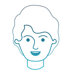Male face with short wavy hair in degraded blue vector