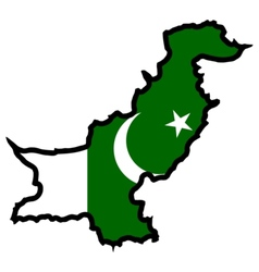 Map in colors of Pakistan vector image vector image