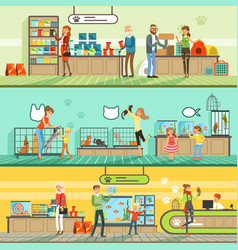pet shop horizontal banners set people buying vector image vector image