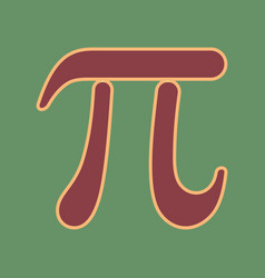 Pi greek letter sign cordovan icon and vector