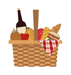 picnic basket food drink lunch design vector image vector image
