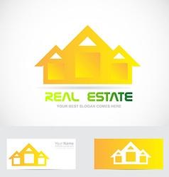 Real estate yellow house logo vector