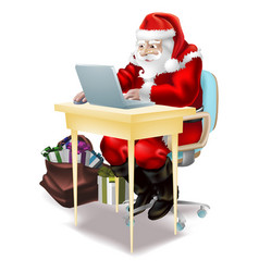 Santa shops on-line vector