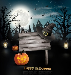 Scary halloween background with a wooden sign vector