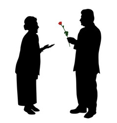 senior man giving red rose to woman or wife vector image