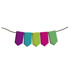 Set of colored flags in a rope for decoration vector