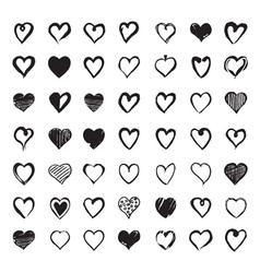 set of hand drawn hearts design elements for vector image vector image