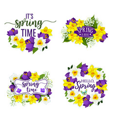 Spring flowers bunches and bouquets icons vector