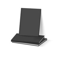 Stack of black books on white business mockup vector