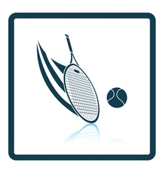 Tennis racket hitting a ball icon vector image vector image