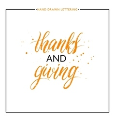 Thanks and giving lettering with black splashes vector
