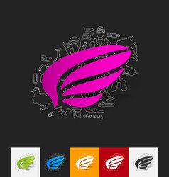 wing paper sticker with hand drawn elements vector image