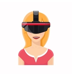 Woman avatar in virtual reality glasses vector