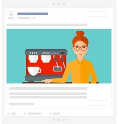 Woman making coffee social media post vector