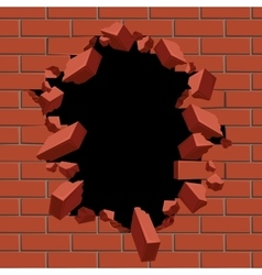 Exploding out hole in red brick wall vector