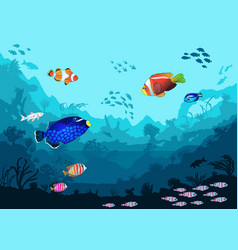 Sea underwater world with bright fish and animals vector
