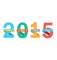 2015 happy new year number with ribbon vector