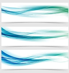 Modern abstract green blue line header collection vector