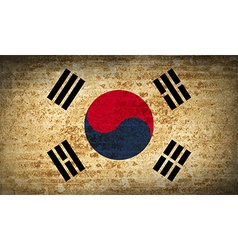 Flags korea south with dirty paper texture vector