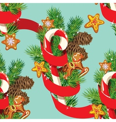 Seamless christmas pattern with xmas gingerbread vector