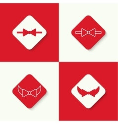 Set icons with bow tie vector image
