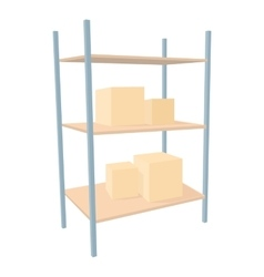 Shelves with cardboard boxes icon cartoon style vector