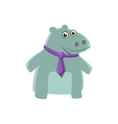 Hippo wearing neck tie vector