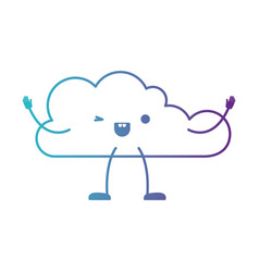 Animated kawaii cloud icon flat in degraded blue vector