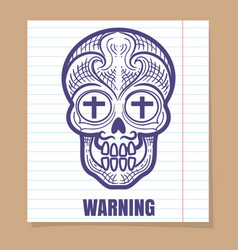 Calavera sugar skull on linear page vector