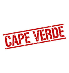 Cape verde red square stamp vector