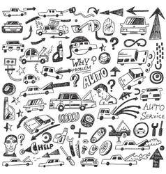 cars auto repair - doodles vector image vector image