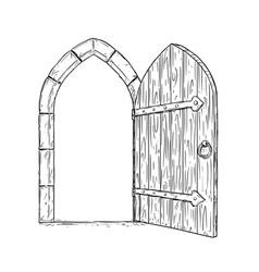 Cartoon drawing of open wooden medieval decision vector