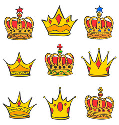 collection stock of gold crown style vector image vector image