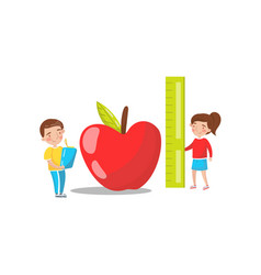 cute boy and girl measuring red giant apple vector image vector image