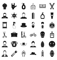 Cutting hair icons set simple style vector