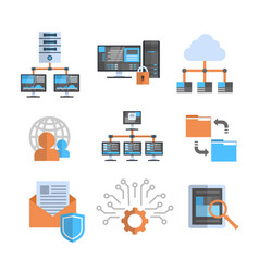 Data connection icons set cloud computer vector